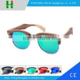 Hot selling natural wood unbreakable frame UV400 polarized sunglasses for running/ cycling /fishing