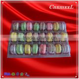 New style 24 blister macaron gift tray with 0.55 mm clear food grade PET cheap clamshell packaging