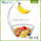 Wholesale cheap metal wire netted fruit basket with banana holder