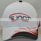 Guangzhou hat factory professional custom 6 panel / 100% cotton / / embroidery logo/brim gear shape/white baseball cap
