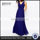 MGOO Hot Selling OEM/ODM Custom Logo Blue Maxi Dress Elegant Evening Vestidos Women Chiffon Clothing #25206029