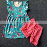 Latest design 2 pieces baby clothing outfit for kid wear ruffle summer children ballet dress wholesale child clothes