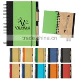 Spiral winding elastic meeting journal notebook with line 70grams 70sheets 30*21cm with kraft paper pen