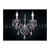 Smoky Gray Modern Crystal Wrought Iron Indoor Wall Lights For Corridor , Candle Wall Lamp