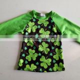 2017 Wholesale Baby Ruffle Sleeve Raglan Shirts Kids custom luck clover 3/4 green baseball tee toddler icing t-shirt for Easter