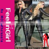 Stylish Sexy Black Zipper Closure Faux Leather Catsuit