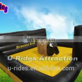 Norway Mechanical Bull Rodeo Game Rodeo Surfboard With Black And Yellow Inflatable Background