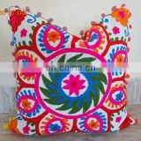 Mandala Vintage Suzani Cushion Cover Embroidered 16x16'' Indian Pillow Case Cotton Cover Throw 40x40 Cm