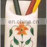 White Marble Inlay Pen Holder Gift