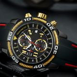 Cool design sport watch with stainlesss steel back for men