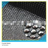 Shiny Crystal Rhinestone Mesh Roll Ss10 3mm Jet Hematite Crystal 45x120cm Black Base Without Glue