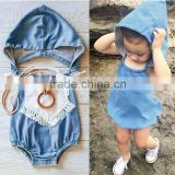 2016 ins hot sale baby girl denim hooded rompers baby girl european backless one-piece baby cool denim romper