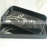 Set of two black and white flower decoration rounded rectanglel lacquered tray TK Vietnam