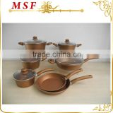 MSF-6689 12pcs pressing aluminum cookware set fancy champagne painting & non stick coating