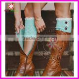 2014 Women's Crochet Knit Boot Cuff Leg Warmers Lace Trim Toppers Socks