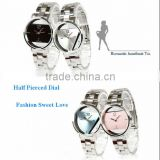 Fashion Alloy Half Look-through Inverted Triangle Dial Couple Watches