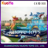 giant shark inflatable water slide with swimming pool,inflatable pool with shark slide, inflatablel summer fun toys