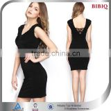 Wholesale 2015 Fashion V-Neck Sexy Black Bodycon Club Dress