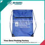 Polyester Sports Drawstring Backpack bag with Front Zipper pocket