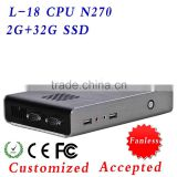 L-18 MINI PC FANLESS computer ATOM N270 1.6GHZ ,embedded pc ,memory card ps ,Save electricity !!