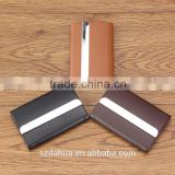 shenzhen dahua custom logo best gift business card case for men/metal hand push name card holder/leather card case