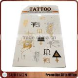 2015 High quality custom metallic temporary tattoo/custom mixed gold silver temporary metallic tattoo