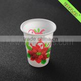 230ml PP white decorative pattern design of disposable plastic cups