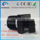 Cam switch LW8-10YH2/3 Voltage converted with piece of copper 10A 3 poles 4 Positions 8 Terminals rotary switch sliver contact