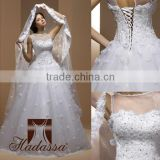 French designe Ball Gown Wedding Dress / Gown Embroided with flowers and Crystal High Quality Mesh