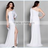 Concise One Shoulder Sheath Sweep Train Chiffon Side Slit Beaded White Long Sleeve Evening Dress HA-154