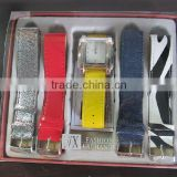 fasion interchangeable watch set for ladies with four extra strap