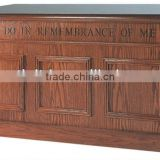 Antique solid Wooden Closed church Communion Table in dark oak finish With Inscription, applied molding