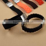 18 20 22 24mm Black Waterproof Silicone Rubber Watch Strap Band Deployment Buckle