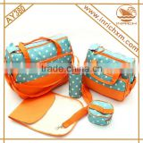 New Product Cream Color Microfiber 5pcs in 1 Fashion Baby Diaper Bag Set
