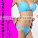 Wrinkle Pushed-Up Padded Bikini with Hollow-Out Panty Sexy Fashion Modern Bikini Swimwear NA96-blue