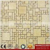 IMARK Natural Travertine Marble Stone Mosaic Tile With Polished Surface For Outdoor And Interior Walls Decoration Code IVM7-010