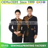 Customized high quality hotel uniform for waiter and waitress from Guangzhou factory