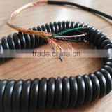 6 core copper braid net and silk rope coiled spiral cable