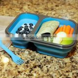 Rectangle Shape Food Container Convenient Bento Silicone Lunch Boxes for School, Work and Travel (1 Layer, Blue)