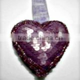 Glass Beads Purple Heart X-Mas Hanging,Ornament & Decoration for Christmas Tree