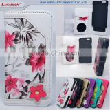 Flower PU Leather Mirror Slider + Universal PC Cover Wallet Phone Case for 4.7inch iPhone 6 6s 7
