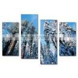 Snow cedar trees 4 panels scenery paintings on canvas
