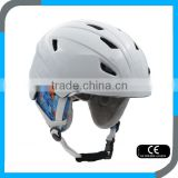 customize OEM in mould CE EN1077 white ski snow helmet with PC shell for kids and lady