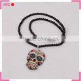 Black bead long chain necklace with skull pendant, fashion necklace free samples