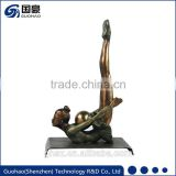 Rhythmic gymnastics floor exercise bronze statue abstract lady body art