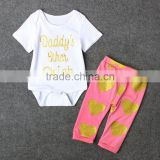 2017 Summer style cotton baby girls clothes Cotton white Tops T-shirt+Gold Heart shaped Stamping Pants Leggings 2pcs Outfits Set