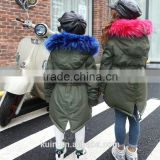 2016 hot sales europe style real fox fur collar with duck feather winter warm overcoat