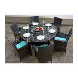 Black 6 Seater Rattan Dining Set Synthetic Rattan Outdoor FurnitureWaterproof
