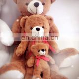 High quality Teddy bear family plush stuffed toy with ribbion