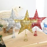 Glitter Iron Star Christmas Tree Top Decoration Ornament, decoration 2017 christmas decor
